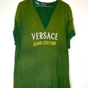 XL Versace Green Fade and Distressed SS Shirt
